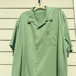 Green Silk Tommy Bahama Button Up
